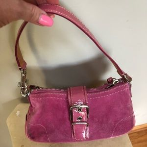 Coach pink suede and paten leather purse